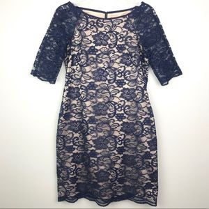 Vince Camuto   Navy Floral Lace Fit & Flare Dress